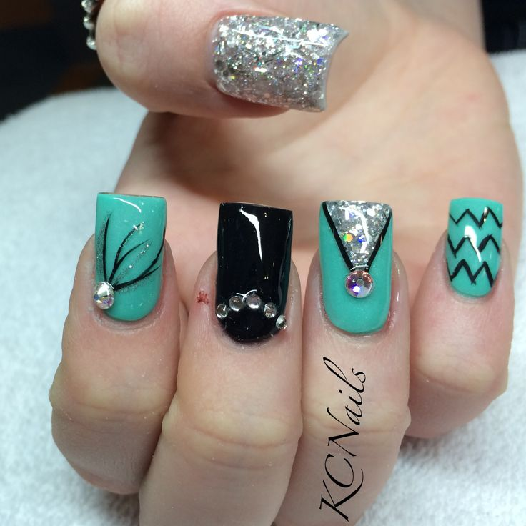 mint green teal black and silver