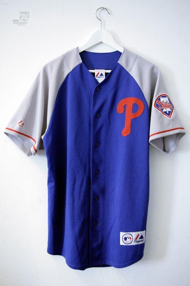 Vintage Phillies Majestic Jersey Size M Philadelphia Baseball Trikot Shirt Blue