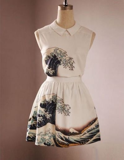 Third version Fine Art Collection Japanese painting Hokusai's The Great Wave off Kanagawa top and Skirt