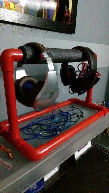 DIY pvc headphone stand
