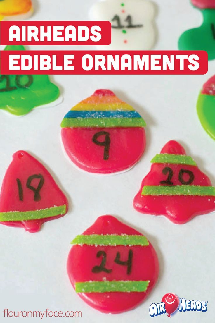 It is super easy to cut and create tiny edible ornaments for this year's Christmas countdown calendar using Airheads! This simple candy craft is a great way to get your kids excited for the holiday season.