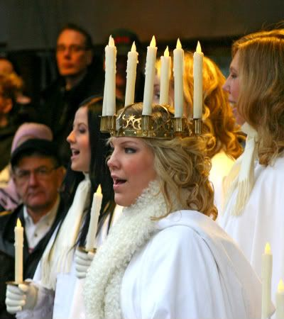 Christmas celebrations in Sweden begin with the feast of St. Lucia on the 13th of December. Lucia is the patron saint of light and she is honored on this day. In homes that still observe th