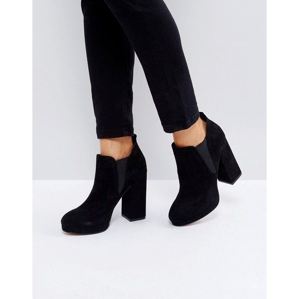 ASOS EFAN Platform Chelsea Boots ($62) ❤ liked on Polyvore featuring shoes, boots, ankle booties, black, platform chelsea boots, high heel boots, chelsea bootie, black ankle booties and high heel ankle booties