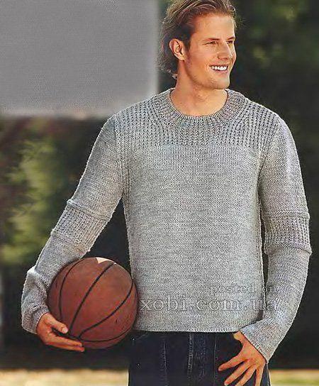 мужской пуловер серого цвета вязаный спицами