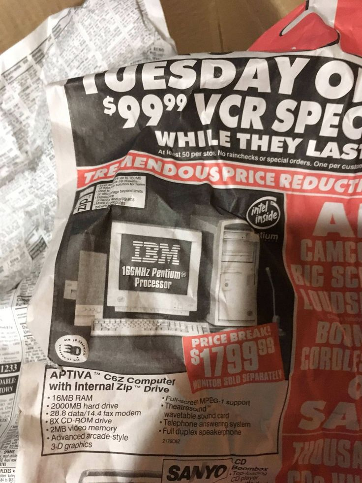 Found a newspaper from the late 90's with a Circuit city ad selling IBM computers for 1800 dollars