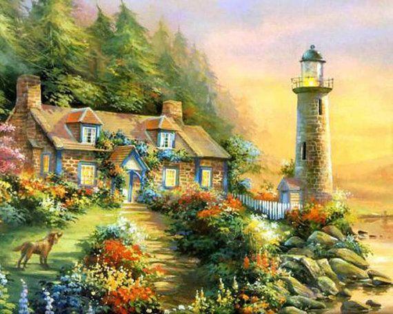 Thomas Kinkade Light House Cottage Cross Stitch Pattern***L@@K***~~ I SEND WORLD-WIDE ~~
