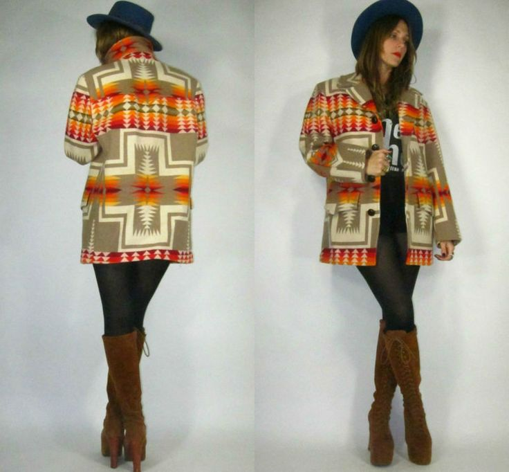 Vintage PENDLETON Southwestern NAVAJO Native Ethnic Indian WOOL Blanket Jacket COAT