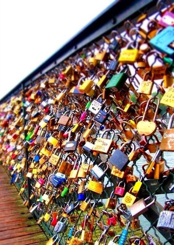 Love lock bridge, Paris. I want to do this one day. Recommended by http://www.londonlocks.com/ London 's Locksmith.
