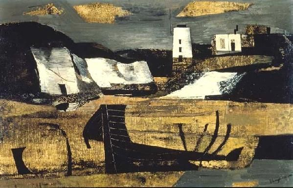 Keith Vaughan. 'Coastal Landscape with Lighthouse'. Oil on board. 1946.
