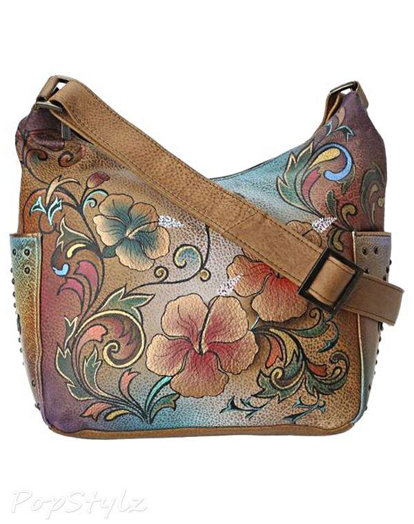 Anuschka 433 Henna Floral Hobo Leather Handbag