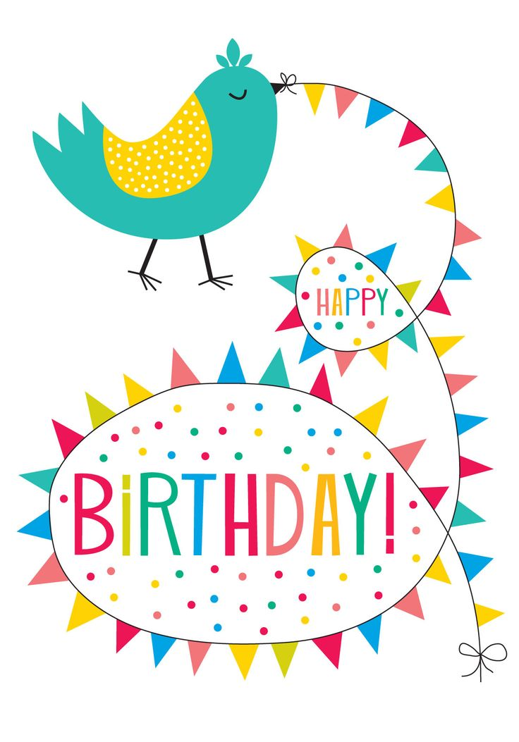 Bunting Bird birthday card