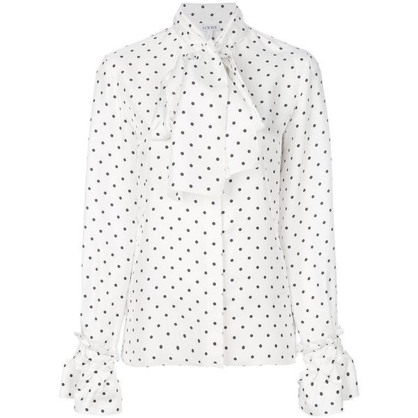Loewe White Dot Lavalliere Blouse (33,295 PHP) ❤ liked on Polyvore featuring tops, blouses, white, polka dot top, white blouse, smocked top, smock top and loewe