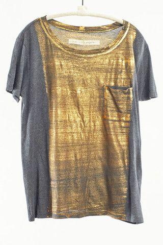 Gold Short Sleeve Tee by Raquel Allegra $223 |shopheist.com
