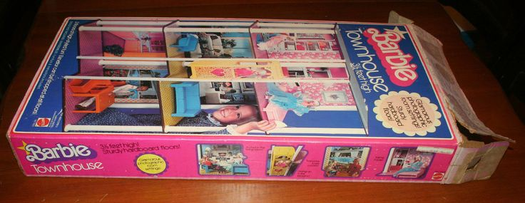 1976 - 77 Barbie Townhouse Town House BOX & PAPERWORK ONLY nice display piece - Honeycomb Masonite Floors - Scroll Logo on Box - Photo Background