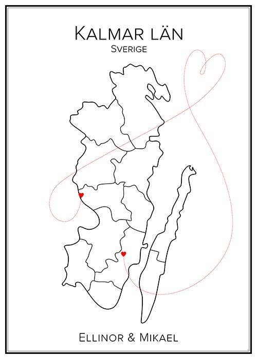 Kärlekskarta. Kalmar. Sverige. Map. City print. Print. Affisch. Tavla. Tryck. Stadskarta.