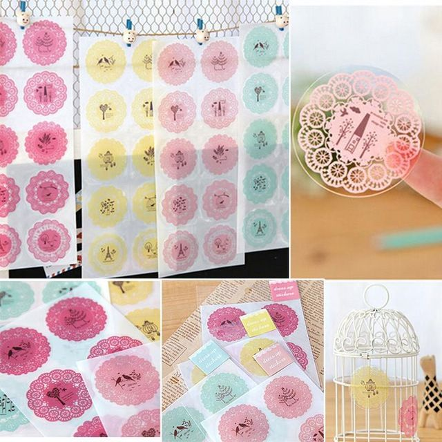 10 Sticker/sheet Stationery Stickers Scrapbook Round Lace Decoration Transparent Decorative Phone Photo Album Diary Diy Decal