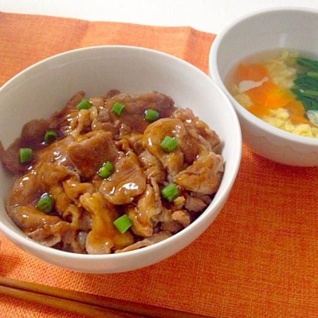 北海道名物の豚丼です‼︎たれも手作りしてみました - 17件のもぐもぐ - 豚丼・中華スープ by accachan096Y1