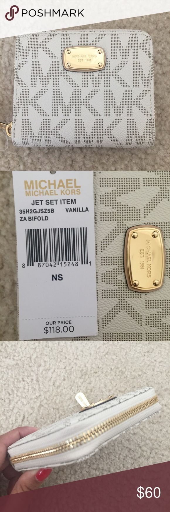 NWT Michael Kors Zip Bifold Vanilla Wallet New with tags. Michael Kors Jet Set Item. In the color Vanilla. Zip around bifold wallet. Gold Hardware. One full length bill fold compartment, one half length bill compartment, three card slots, and one coin pocket. Michael Kors Bags Wallets
