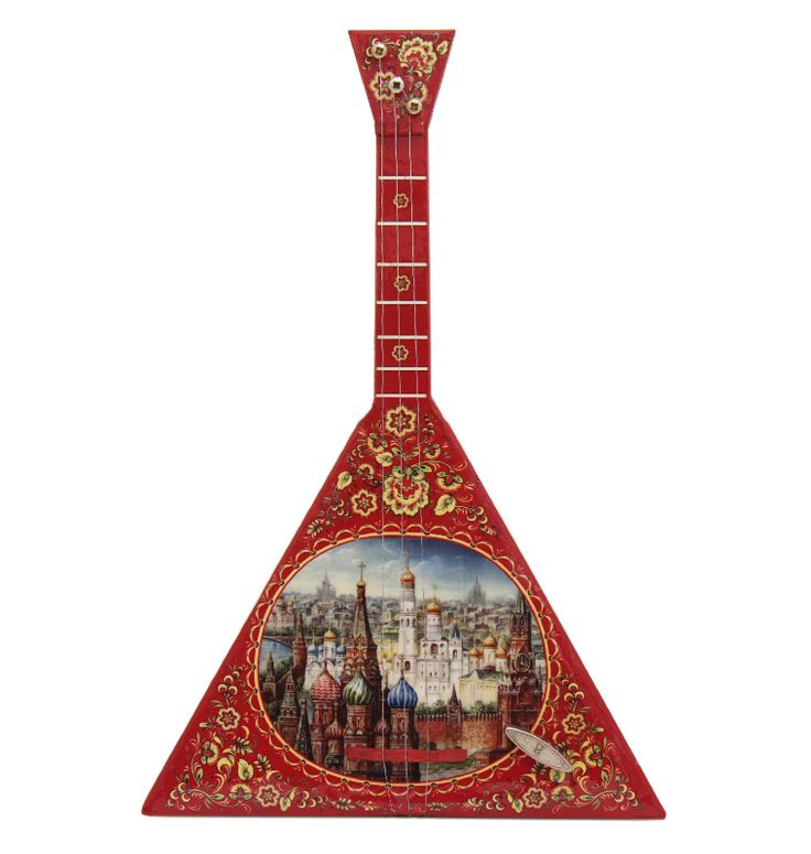 Painted Russian balalaika with Moscow