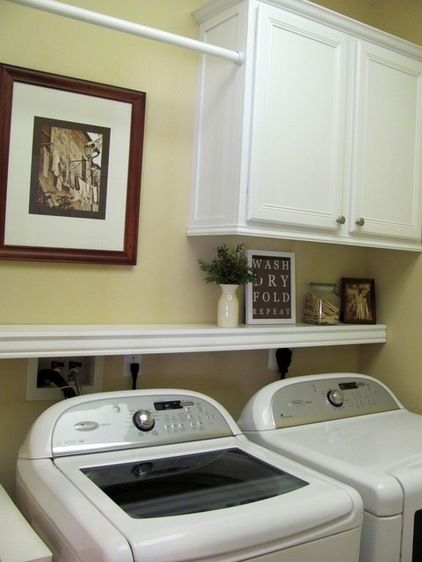 Shelf above washer/dryer is such a good idea. Laundry room ideas - cabinet,  shelf, and hanging rod. I like this b/c it still allows the dryer vent area