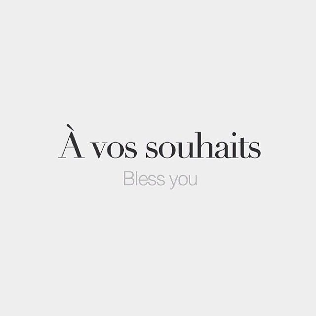 À vos souhaits (to someone who just sneezed) | Bless you | /a vo swɛ/