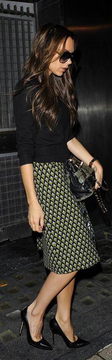 Victoria Beckham: Purse - Victoria Beckham Skirt - Prada Watch - Rolex Victoria Beckham Two-tone leather shoulder bag