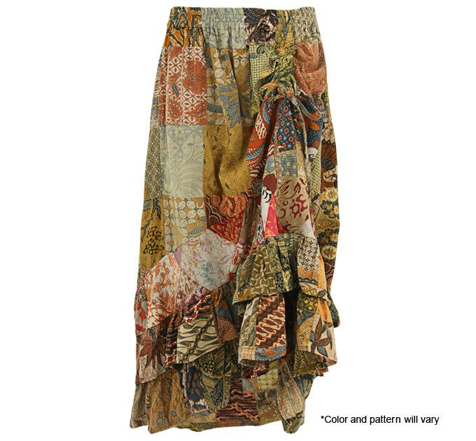 Packed with patterns and colors, this patchwork skirt is a flurry of flits and flounces. Made in Indonesia with recycled scraps of cotton batik.    100% cotton Drawstring cinches up front hemline  Handwash in cold; line dry  Made in and fairly traded from Indonesia