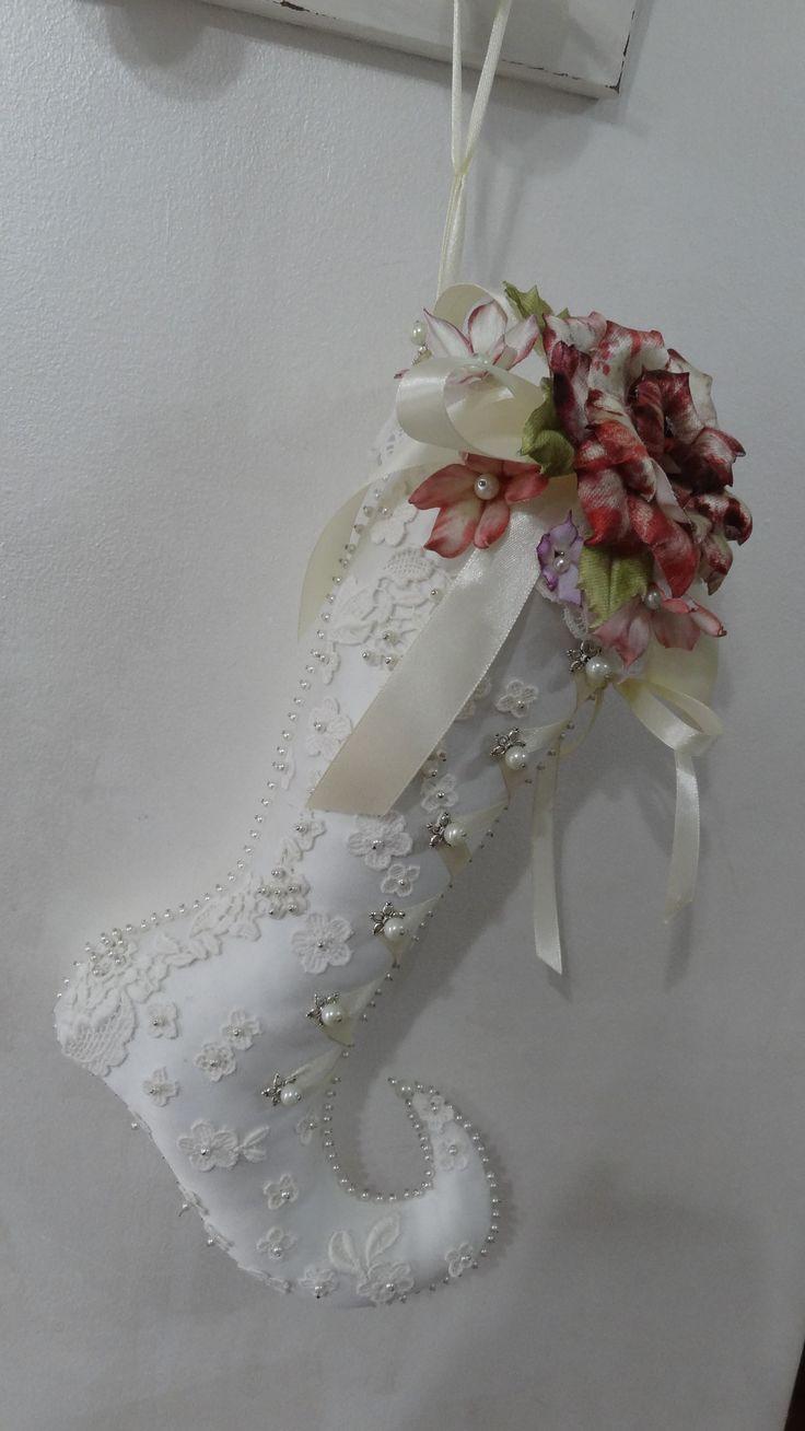 Calza della Befana Romantic Chic con Rosa di Forme Tessili 3D