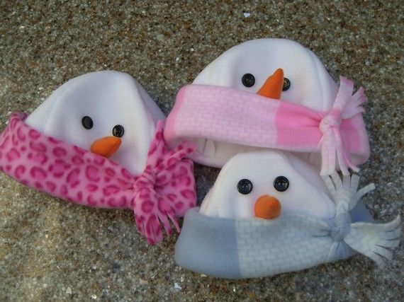 Fleece snowman hats, look so warm!So cute!