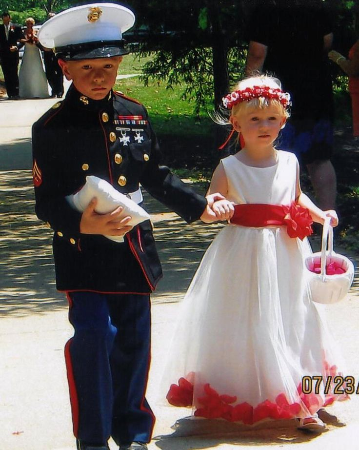 Marine ring bearer and flower girl  Would be cute with army outfit too! XD