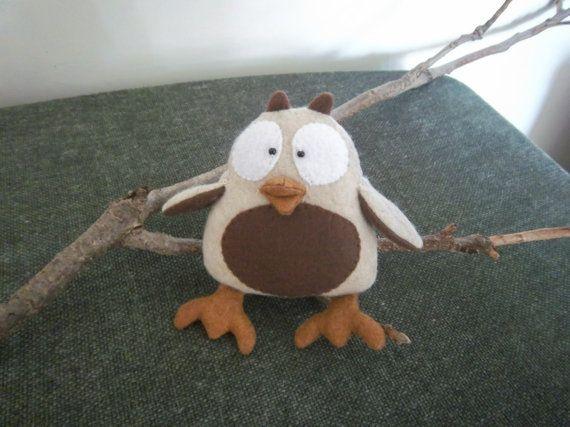 Owl Stuffed Animal Small Oatmeal & Brown by waythecookiecrumbles