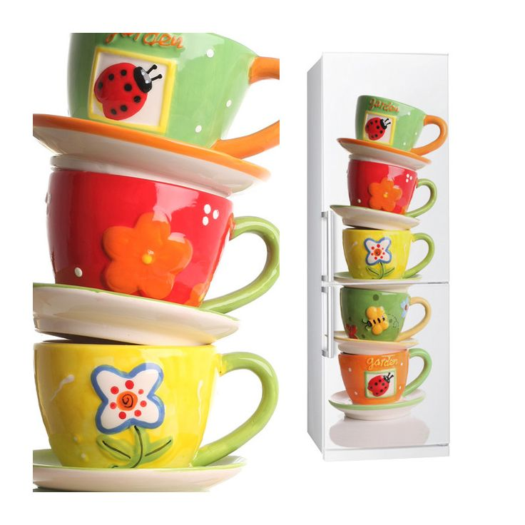 Fabric Fridge sticker CUPS by Sticky!!!