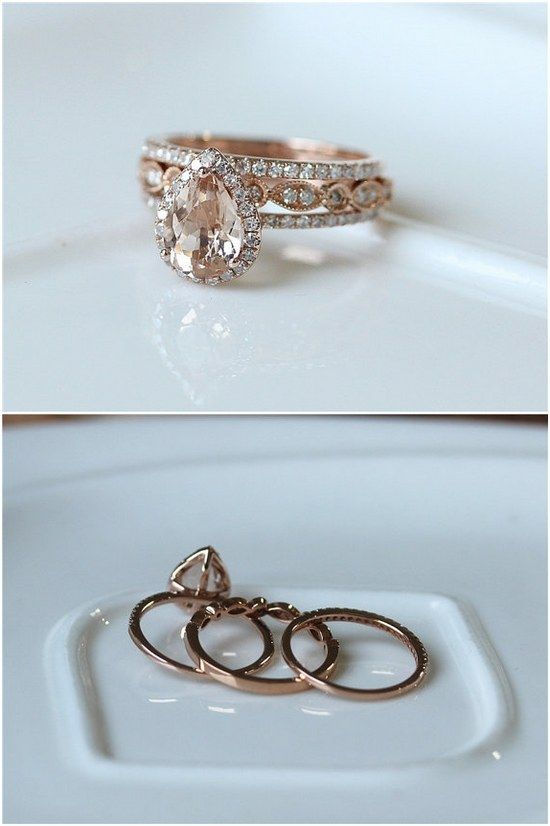 Rose Gold Pear Cut Halo Diamond Morganite Wedding Ring Set / http://www.deerpearlflowers.com/inexpensive-engagement-rings-under-1000/2/