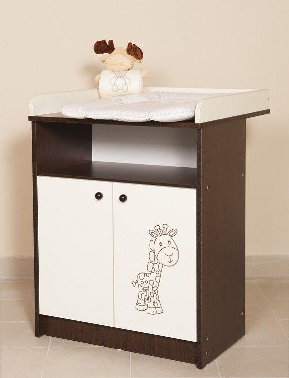 Savanna pelenkázószekrény, Savanna 70 cm széles 2 ajtós-nyitott pelenkázószekrény, wenge-fehér színben, zsiráf matricával, Zsebi Babaáruház