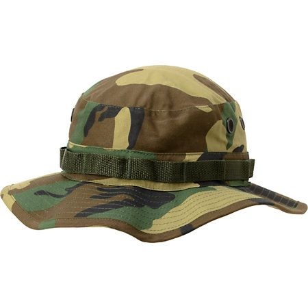 From light duty or on a camping trip the Boonie Woodland Camo bucket hat from Rothco is a good way to keep your head out the sun. Featuring an all over woodland camo print, adjustable chin strap, and a sewn in strap to store some extra goods. Whether you are skating, fishing, or looking fly the Rothco Boonie camo bucket hat in camo is a good look.