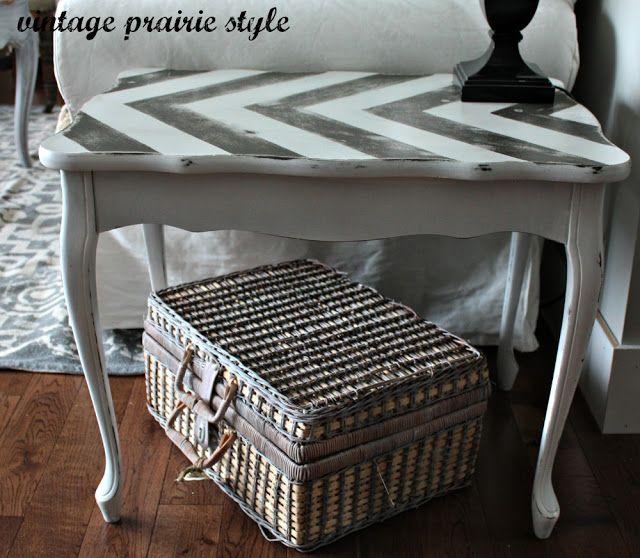 chevron diy end table | Zig Zag End Table :: Vintage Prairie Style