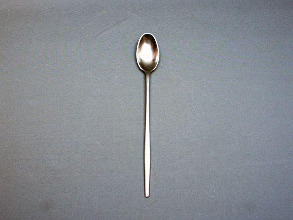 DANSK DESIGNS Danish stainless steel long spoon, Design QUISTGAARD, Signed Ihq or Jhq, Scandinavian flatware, Ice tea, Vintage 1950s