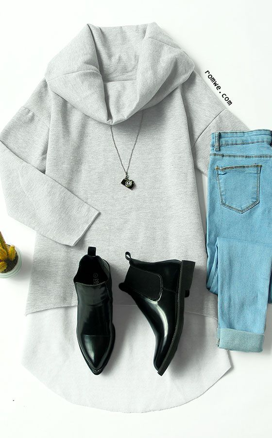 Fall Chic - Grey Cowl Neck Long Sleeve Loose Sweatshirt with blue denim and black boots from rowme.com
