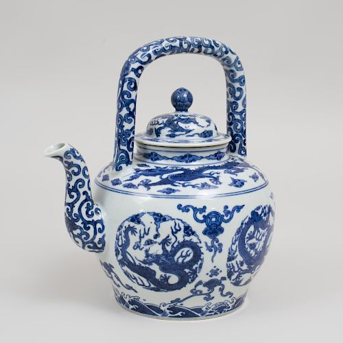 Large Chinese <b>Blue and White Porcelain</b> Teapot and Cover, Six ...