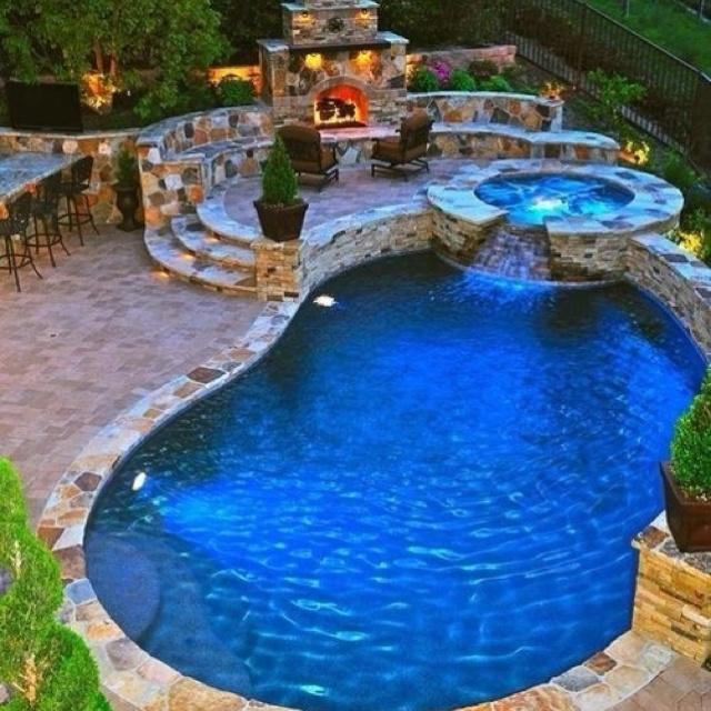 Not if, when...: Pools Area, Dreams Backyard, Fireplaces, Hot Tubs, Firepit, Dreams Pools, Backyard Pools, Back Yard, Fire Pit