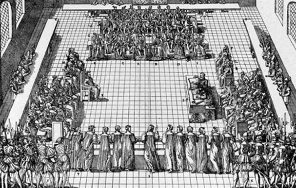 Colloque de Poissy-9 septembre 1561, Tortorel et Perrissin- Cette rencontre entre les protestants, la cour et les prélats catholiques fut organisée par Catherine de Médicis et Michel de l'Hospital pour réconcilier les partis. Le 9 sept est le jour de l'affrontement théologique entre Théodore de Bèze, venu de Genève, et le cardinal Charles de Lorraine.