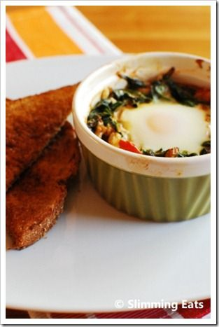 Baked Spinach and Egg | Slimming Eats - Slimming World Recipes