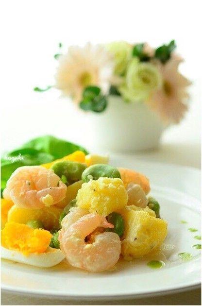 デリ風♪じゃがいもとそら豆、海老のサラダ by はずき [クックパッド] 簡単おいしいみんなのレシピが233万品