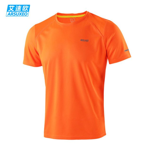 ARSUXEO Brand Men's Running T-shirts Short Sleeve Sports Suit Gym Fitness Soccer Jerseys Training Jogging
