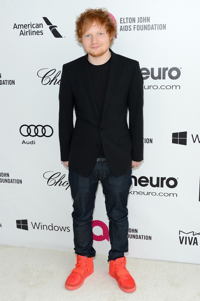 736a80ee512 Ed Sheeran wearing the Air Yeezy Nike sneakers at the red carpet ...