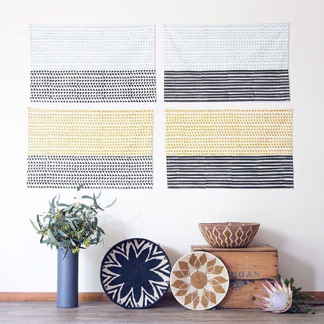 Sometimes tea towels are just too pretty to be used in the kitchen and look better as wall art!  Also how amazing are these grass basket patterns