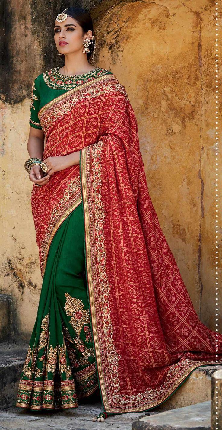 Red & Green Kutchhi bandhni print jacquard & tussar silk heavy work bridal sari