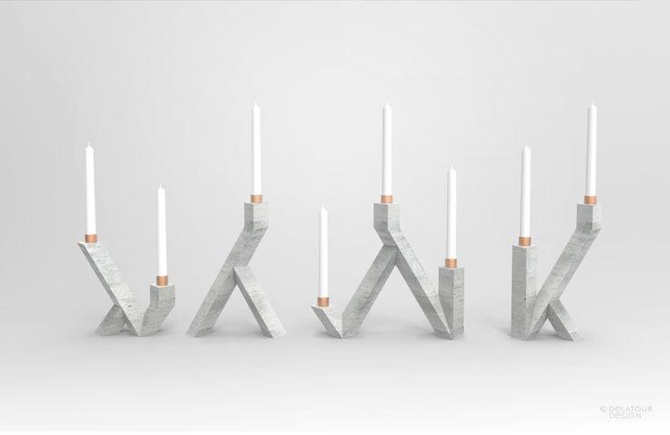 Ensemble de bougeoirs en béton et cuivre, by Jimmy Delatour. Candlesticks, concrete and copper. www.delatourdesig... Furniture and object design, design de mobilier et d'objet.