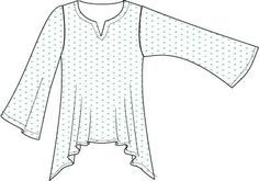 HulaKitty Pattern Flared Top with Notched Neckline