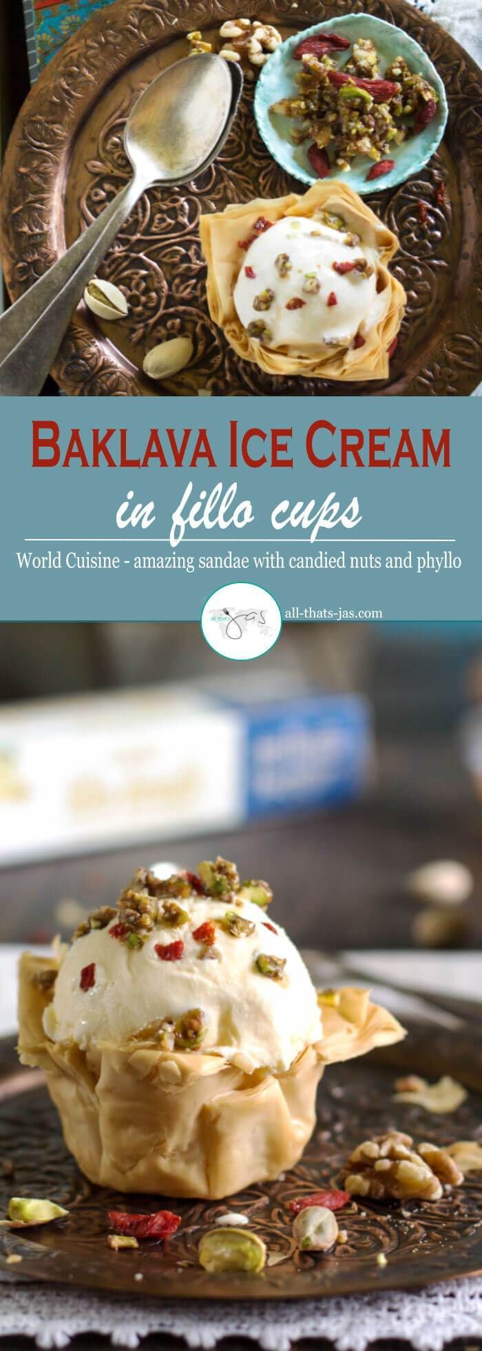 This baklava ice cream is the ultimate dessert for all baklava lovers. The buttery, flaky fillo cups made with phyllo dough and creamy vanilla ice cream with cinnamon candied nuts are meant to be together.